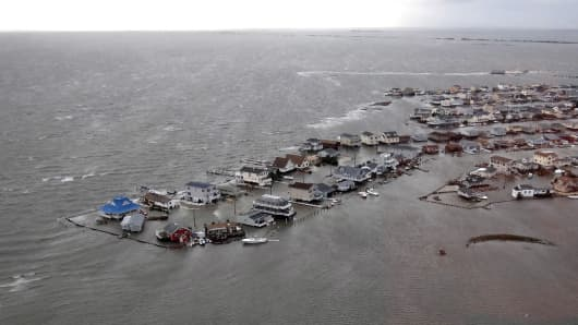 Homes flooded after Hurricane Sandy made landfall coastline in Tuckerton, New Jersey.