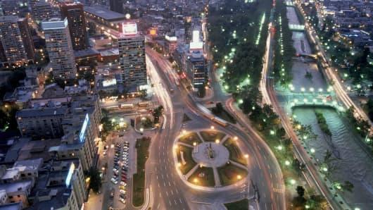 Aerial view Santiago, Chile