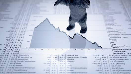 Bear statue standing on stock graph