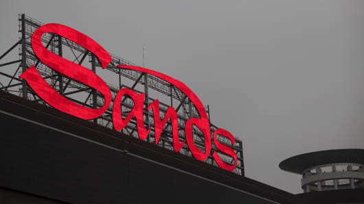 The Sands Corp. sign in Las Vegas, Nevada.