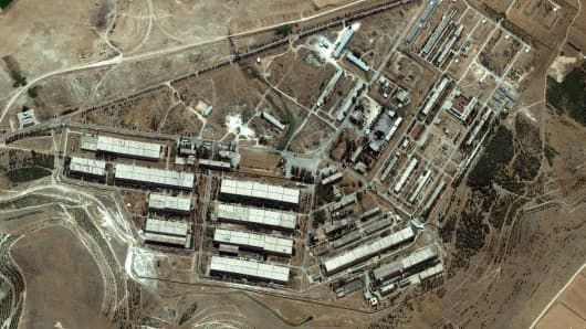 This is a satellite image of a location widely reported as a chemical weapons facility in Al Safirah, Syria collected on August 1, 2012.