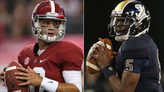 University of Alabama quarterback AJ McCarron and Notre Dame quarterback Everett Golson