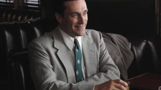 Jon Hamm who plays Don Draper in a scene from the series Madmen.