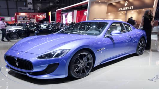 A Maserati Gran Turismo automobile, produced by Fiat SpA, sits on display during the second press day of the Geneva International Motor Show in Geneva, Switzerland, on Wednesday, March 7, 2012.