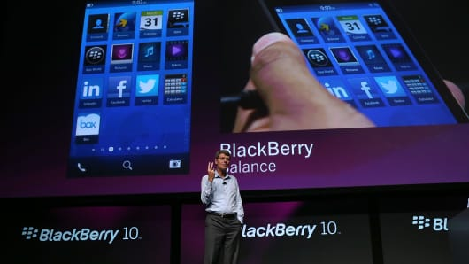 Research in Motion (RIM) CEO Thorsten Heins speaks during the BlackBerry Jam 2012 conference at the San Jose Convention Center on September 25, 2012 in San Jose, California.