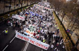 Demonstrators take part in a protest against government&#039;s health cuts and privatisation plans in Madrid on December 16, 2012.