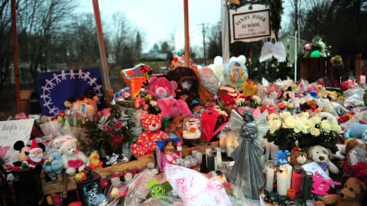 A makeshift shrine for the victims of the Sandy Hook Elementary shooting in Newtown, CT.