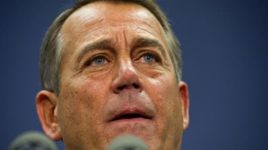 Speaker of the House of Representatives, John Boehner, R-OH, speaks to the press December 18, 2012 on Capitol Hill in Washington, DC.