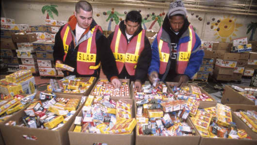 Volunteers at a food bank in New Jersey.
