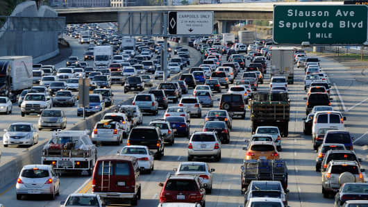 Traffic comes to a stand still on the northbound and the southbound lanes near LAX