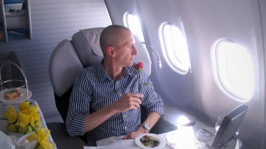 Darren Booth in Lufthansa's First Class.