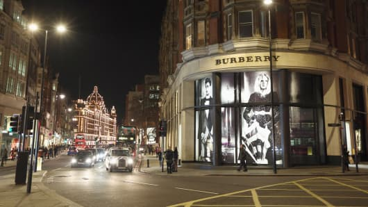 The Burberry shop in London, England.