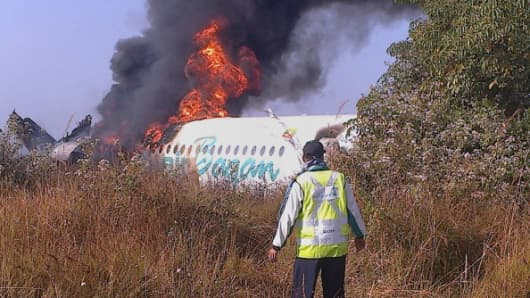 The Air Bagan passenger plane after it crashed near Heho airport in Myanmar's eastern Shan state on December 25, 2012.