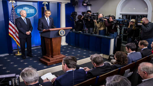 President Barack Obama makes statement on fiscal cliff