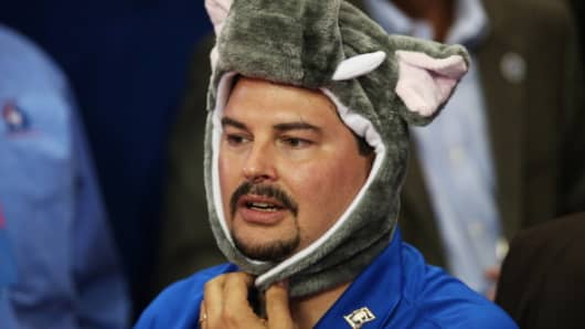 A man wears an elephant hat as he watches during the third day of the Republican National Convention at the Tampa Bay Times Forum on August 29, 2012.