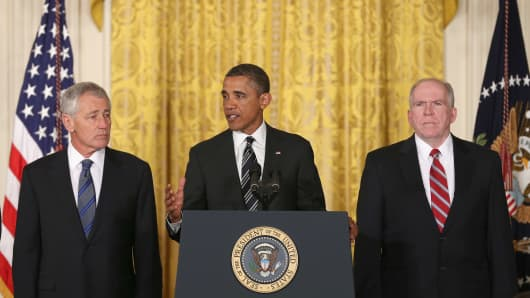 President Obama nominates former Sen. Chuck Hagel (left) as secretary of defense and John Brennan as CIA chief.