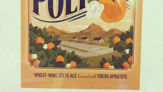 Hangar 24's Polycot, the brew that helped launch the Field Series, a collection of beer that relies on locally sourced ingredients. In this case, it's apricots.