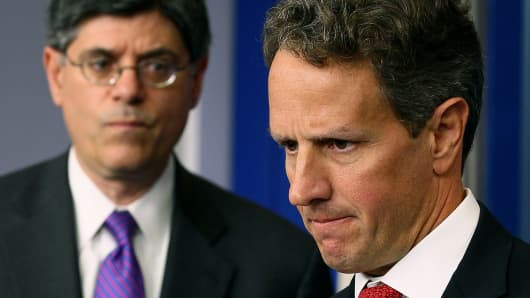 Jack Lew and Timothy Geithner