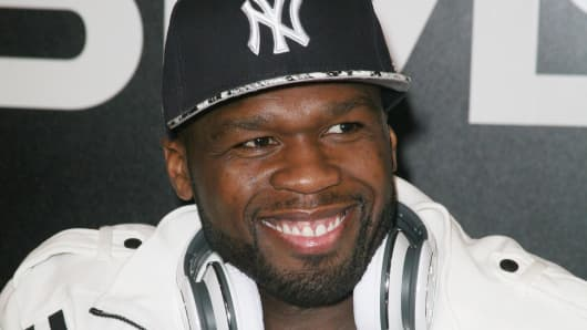 Actor/rapper Curtis '50 Cents' Jackson visits the SMS Audio booth to promote his new line of wireless headphones and sign autographs at the 2012 International Consumers Electronics Show at Las Vegas Convention Center on January 10, 2012 in Las Vegas, Nevada.