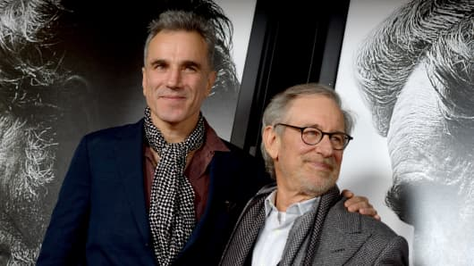 "Daniel Day-Lewis and Steven Spielberg at the ""Lincoln"" premiere in November in Hollywood."