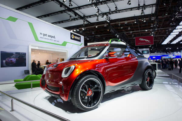 Smart Forstars displayed at the Detroit Auto Show