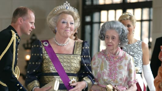 Queen Beatrix of the Netherlands and Queen Fabiola of Belgium