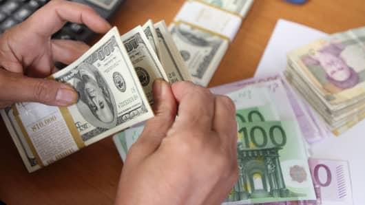 Dollar, Euro and Iranian Rial
