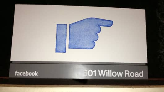 Facebook sign in Menlo Park, California.