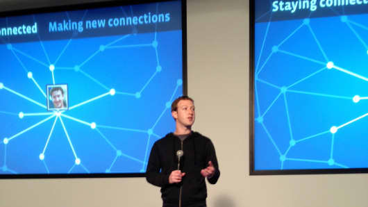 Mark Zuckerberg at the Facebook launch of Graph Search event on January 15, 2013