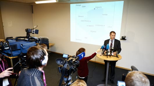Director for international affairs Lars Christian Bacher addresses a press conference in Stavanger, Norway. A Norwegian man and a number of Americans, Irish and Japanese have been kidnapped at a gas plant in Algeria that was attacked by Islamist militants on Wednesday.