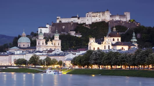 River Salzach and Salzburg skyline