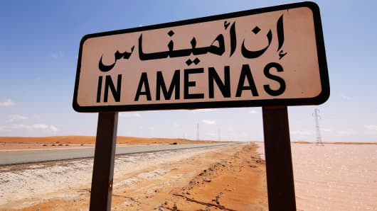In Amenas road sign, Algeria.