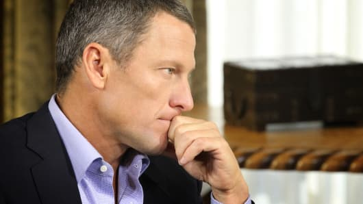 Lance Armstrong during an interview with Oprah Winfrey regarding the controversy surrounding his cycling career January 14, 2013 in Austin, Texas.