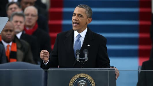 President Barack Obama gives his inauguration address during the public ceremonial inauguration on the West Front of the U.S. Capitol January 21, 2013 in Washington, DC.