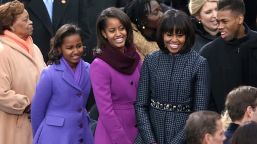 First lady Michelle Obama and daughte