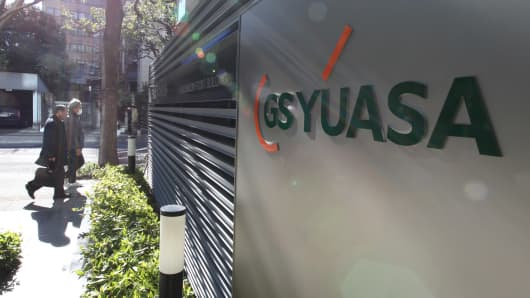 GS Yuasa Corp.'s logo is displayed outside the company's office in Tokyo, Japan.