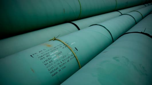 Pipe is stacked at the southern site of the Keystone XL pipeline in Cushing, Oklahoma.
