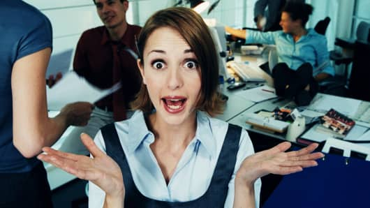 woman outraged workplace employee employment
