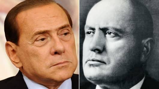 Silvio Berlusconi (L), Benito Mussolini (R).