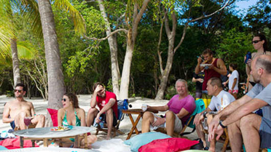 Richard Branson works from his home on Necker Island