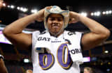 Antoine McClain #60 of the Baltimore Ravens poses during Super Bowl XLVII Media Day.