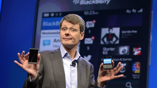 BlackBerry CEO Thorsten Heins officially unveils the BlackBerry 10 mobile platform as well as two new devices in New York.