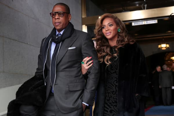 Jay-Z and Beyonce arrive at the presidential inauguration on the West Front of   the U.S. Capitol January 21, 2013 in Washington, DC.