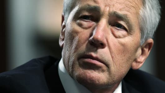 Chuck Hagel testifies before the Senate Armed Services Committee during his confirmation hearing to become the secretary of defense.