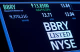 Trading activity for Blackberry Inc. is displayed on an electronic board on the floor of the New York Stock Exchange (NYSE) in New York, U.S.