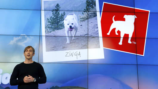 Mark Pincus, chairman and chief executive officer of Zynga Inc., speaks during an event at Zynga Inc. headquarters in San Francisco, California, U.S.
