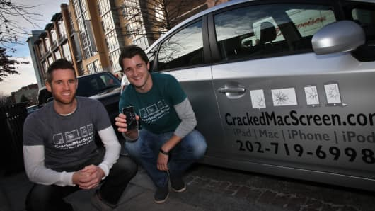 Colin, 30, and Trevor Lyman, 27, are brothers and co-founders of CrackedMacScreen, a mobile business that operates out of cars in Washington, D.C.