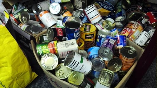 Cans of food at the Thamesmead food bank in London.