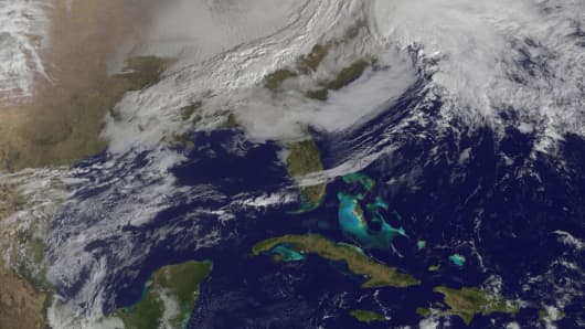 The massive storm approaches the East Coast on Friday morning.