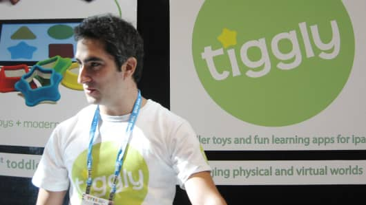 Phyl Georgiou, founder of digital toy startup Tiggly, was among the exhibitors at Toy Fair 2013 in New York City. He's created a series of shapes that integrate with tablets.